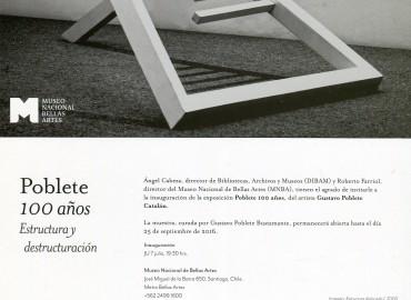 La APECH les invita a la muestra POBLETE 100 AÑOS del artista Gustavo Poblete Catalán
